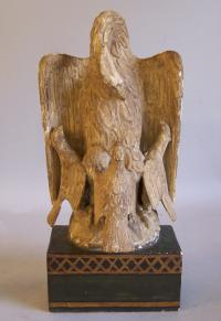 19th C French wood carving of Swan feeding cygnets