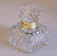 19th century large glass Baccarat desk inkwell