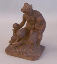 19th C Terra Cotta Satyr grouping sculpture after Clodion