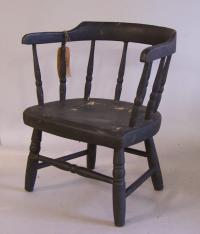 Childs diminuative Windsor arm chair with black paint c1800