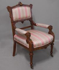 American Victorian black walnut upholstered arm chair c1875