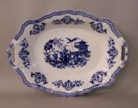English blue and white porcelain serving platter with Chinoiserie design