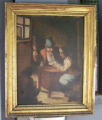 Toos Van Broesbeck oil painting on board man at desk c1850
