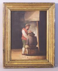 European oil painting on board man with a pipe c1840