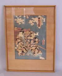 19th century Japanese wood block print of a Samurai