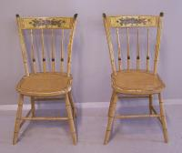 Matched pair of American country plank seat Windsor chairs c1820