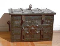 Early 17th century German iron strong box with key