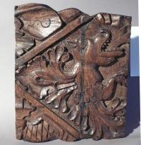 16th century carved wood dragon panel