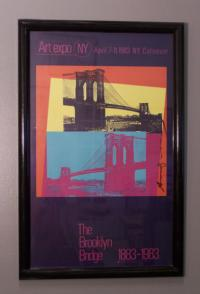 Signed Andy Warhol poster of the Brooklyn Bridge