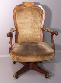 19th c. Georgian style upholstered office arm chair