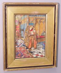 John Byam Shaw watercolor image lady turned serving man