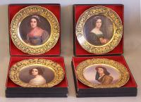 4 hand painted Heubach porcelain portrait plates Germany