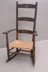 Period American Country painted rush seat rocker with arms c1750