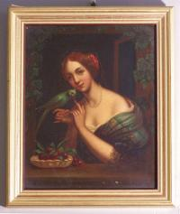 Charles Louis Bazin 1802 to 1859 woman with parrot painting on metal