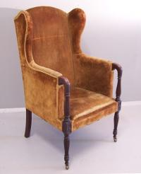 American Sheraton style centennial mahogany wing chair c1880
