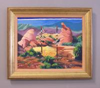 Don Blaisdell c1989  oil painting on linen titled Totem Lines