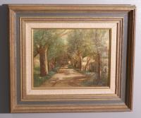 Olive Parker Black oil on board painting of a country road