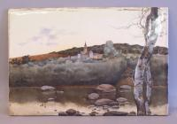 Painting on porcelain landscape with castle signed M. Villolobus