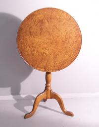 Bench made birdseye maple tilt top stand c1930