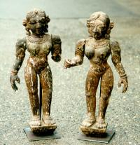 Carved pair of wood temple figures from India