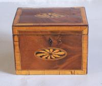 Early English inlaid boxwood tea box with banding c1790