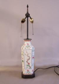 Chinese 18th c large porcelain 8 sided lamp famille rose