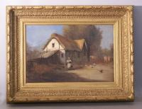 19thC French country cottage scene woman with chickens