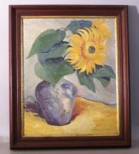 Oil on canvas of a sunflower in New Mexico by Robert L Sauter
