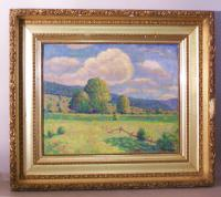 Unsigned 19th century New England landscape painting on canvas