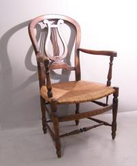 Country French rush seat arm chair c1900