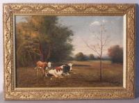G Millrose oil on canvas painting of cows in field 19th century