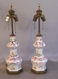 Pair 19th century French faience lamps