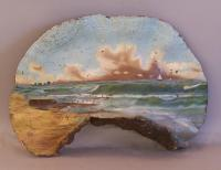 Large 19th century Fungus with seascape painting