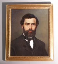19th c Portrait painting of a bearded man oil on canvas c1850