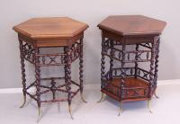 Pair of Fancy twist leg tables by Merklen Co New York c1890