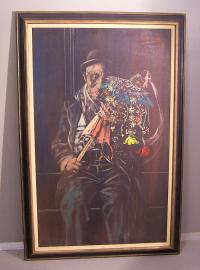 Noel Rockmore oil on canvas painting of a clown with flowers1963