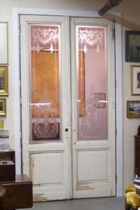 Pair of French blown glass doors from Paris