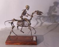 Pewter sculpture on wooden base Pale Horse Pale Rider