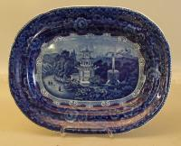 Minton Staffordshire cobalt blue platter with pagoda