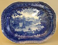 Staffordshire platter cobalt dark blue boating on the Thames c1850