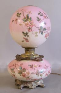 Pink floral Gone with the wind lamp electrified