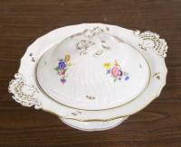 Hand painted Meissen covered porcelain bowl