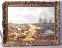 19th C H Reekers landscape oil with sheep
