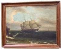 Oil on Canvas over Board Ships Painting