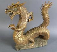 Asian hand carved dragon with gold leaf c1920