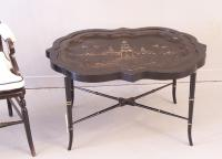 English Papier Mache Tray Table 1880