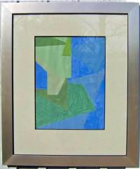 Lloyd R Ney Geometric Abstract art painting on paper 1961