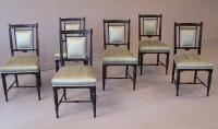 6 Anglo Japanesque Aesthetic Period Ebonized Side Chairs