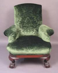 Chippendale Style upholstered armchair c1880