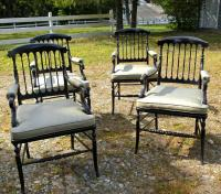 Set French Lion Poinsard spindle back dining arm chairs c1870